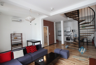 Bright duplex apartment for lease in Westlake area, Hanoi, fully furnished.