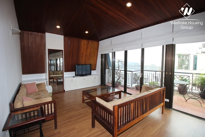 Lake view 2 bedroom apartment for rent in Truc Bach, Ba Dinh, Hanoi