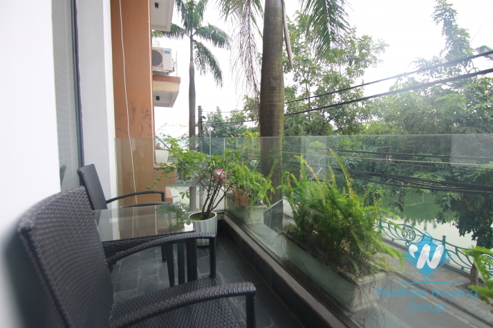 Tay Ho - Lake side apartment for rent with balcony and open living room