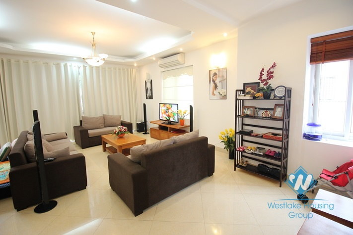 Gorgeous house with front yard and top terrace and lake view for rent in Tay Ho, Hanoi