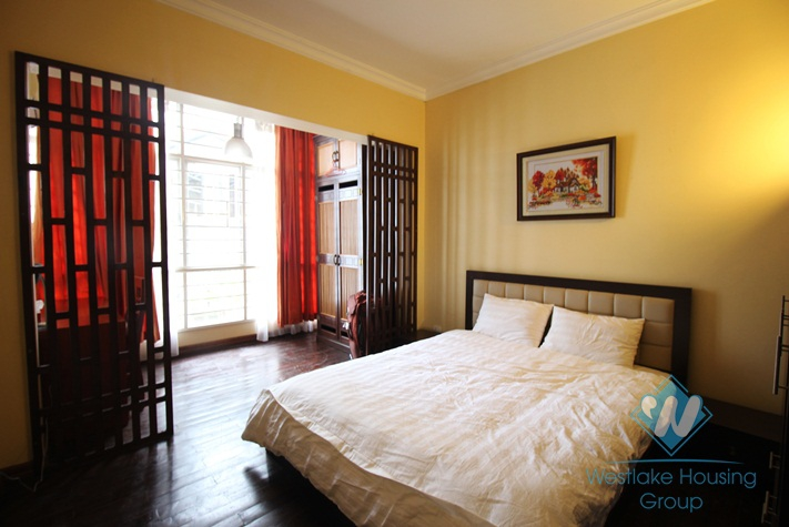 Elegant house with 3 bedroom, front yard and terrace for rent in Ba Dinh, Hanoi
