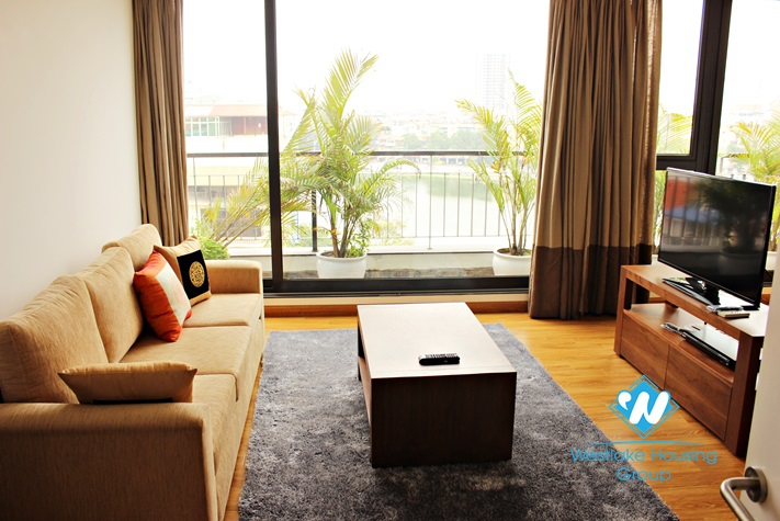 Brand new serviced apartment with lake view for rent in Ba Dinh district, Hanoi