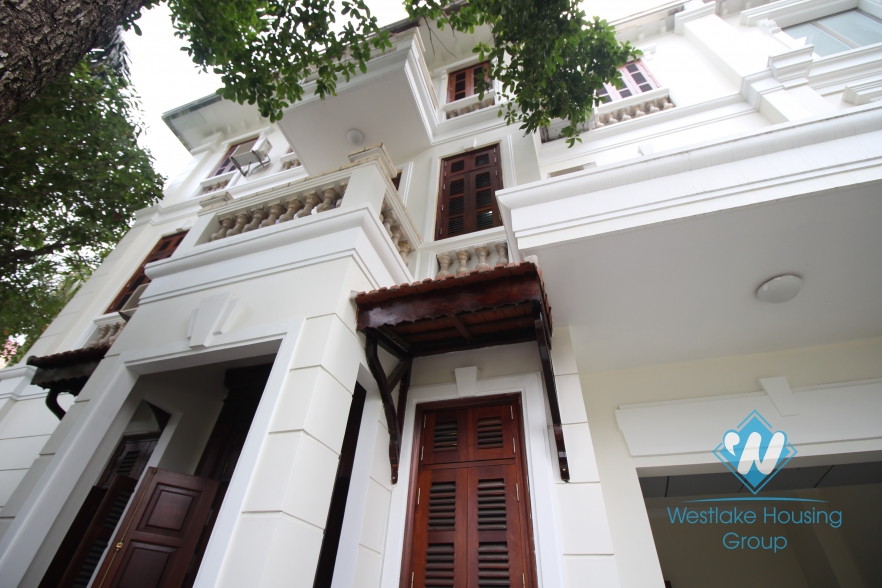 Unfurnished house with wooden floor for rent in Ciputra, Tay Ho, Hanoi.