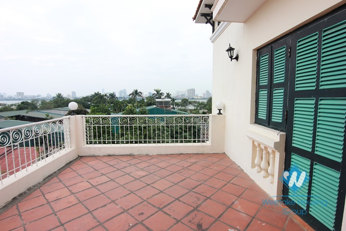 French style house with lake view terrace for rent in Westlake Tay ho, Hanoi, Vietnam