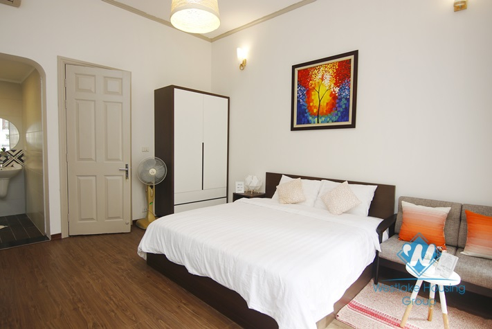 Bright studio with balcony for rent in Thanh Mien st, Dong Da district.
