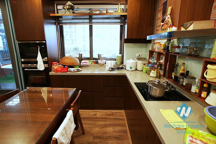 Three bedrooms apartment with huge balcony for rent in Hoang Quoc Viet, Cau Giay area.