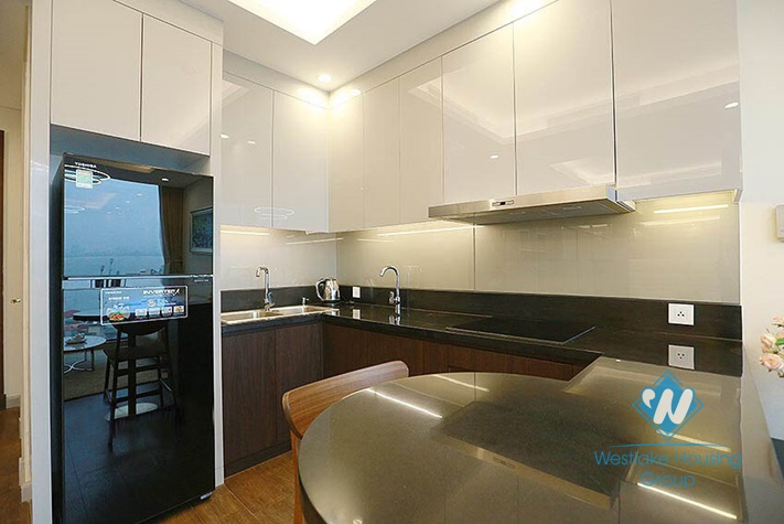 Bright one bedroom apartment with lakeview for rent in Sun Grand building, Thuy Khue, Ba Dinh.