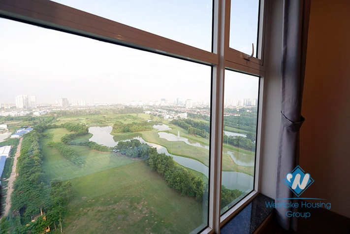 An elegant bedroom apartment with the view of a large golf course in Ciputra