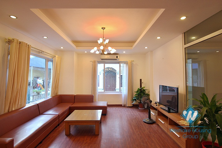 Furnished house with terrace available for rent in Westlake area, Hanoi.