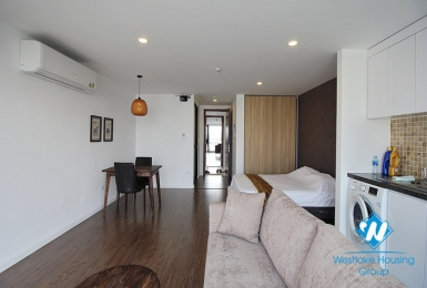 Lake view, bright, spacious, contemporary studio apartment for rent in Long Bien, Hanoi