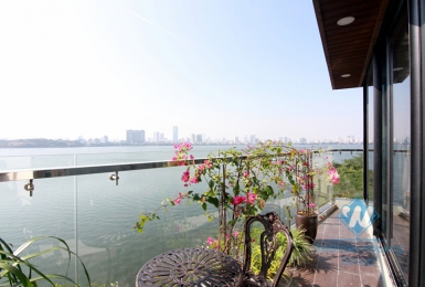 Apartment for rent in Tay Ho with balcony and amazing lake view.