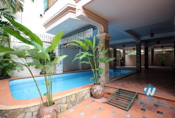 French colonial house with swimming pool for rent in Westlake area, Hanoi