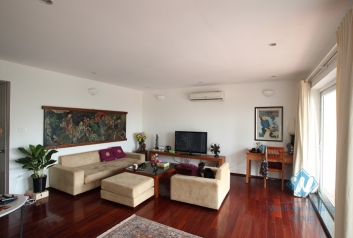 Spacious apartment with large balcony for rent in Truc Bach area, Ba Dinh ,Hanoi
