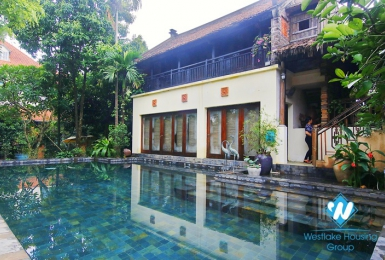 A four-bedroom, garden and swimming pool for rent in Ngoc Thuy near French International School