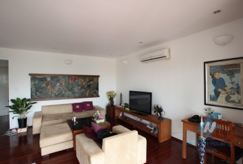 Bright apartment with large balcony for rent in Truc Bach area, Ba Dinh, Hanoi