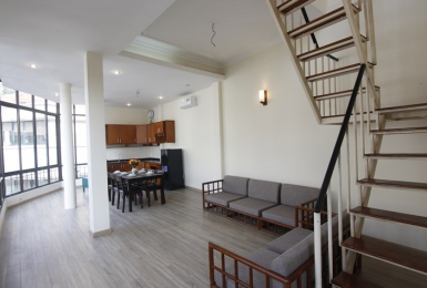 Duplex serviced apartment for rent in Truc Bach area, Ba Dinh, Hanoi.