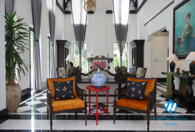 Indochina style interior house with large garden for rent in Vinhomes Riverside - Long Bien
