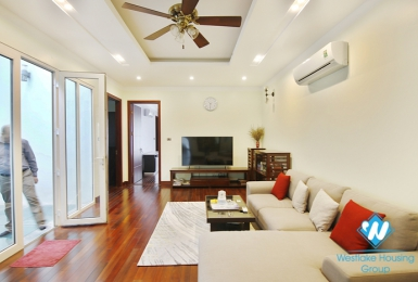 The house has beautiful three-bedroom space for rent in Hoan Kiem