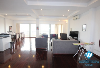 Lake view with big balcony 3 bedroom apartment  on the top floor for rent in Xuan Dieu st, tay Ho district