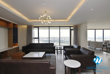 New, three bedroom apartment with view of Red River for rent at Mipec Riverside
