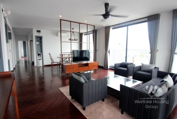 Stunning penthouse apartment for rent in Tay Ho with beautiful lake view balcony