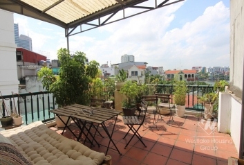 Terrace apartment for rent with stunning lake view in Truc Bach, Ba Dinh
